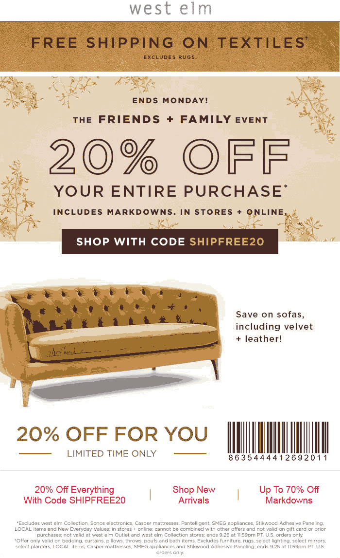 WestElm.com Promo Coupon 20% off everything at West Elm, or online with free ship via promo code SHIPFREE20