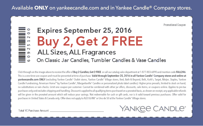 YankeeCandle.com Promo Coupon 4-for-2 on everything at Yankee Candle, or online via promo code FALL246