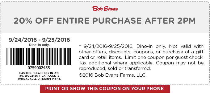Bob Evans Coupon February 2018 20% off after 2pm at Bob Evans restaurants