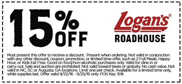 Logans Roadhouse Coupon April 2018 15% off at Logans Roadhouse restaurants