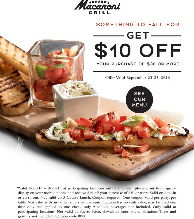 MacaroniGrill.com Promo Coupon $10 off $30 at Macaroni Grill