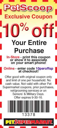 PetSupermarket.com Promo Coupon 10% off everything at Pet Supermarket, or online via promo code 10peroffsp