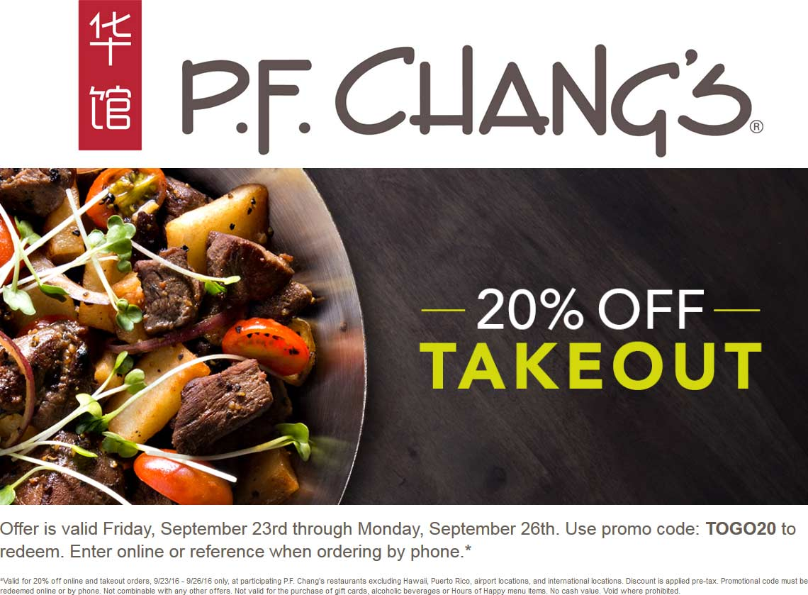 P.F.Changs.com Promo Coupon 20% off online & phone orders at P.F. Changs restaurants via promo code TOGO20