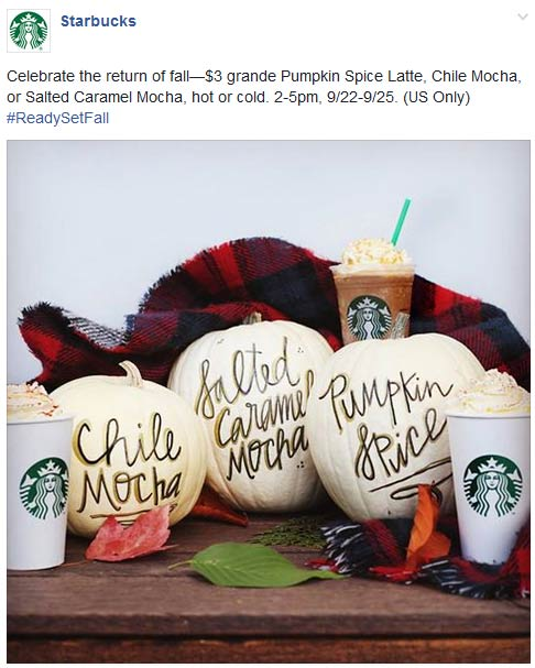 Starbucks Coupon September 2017 $3 grande pumpkin spice latte 2-5p at Starbucks