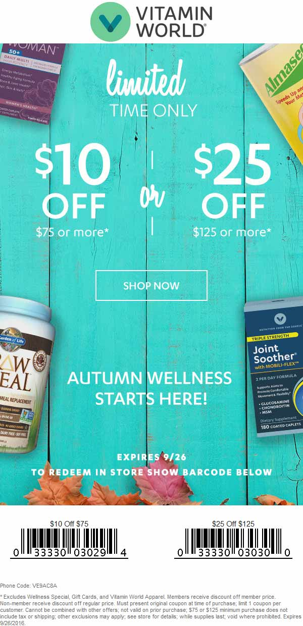 Vitamin World Coupon January 2017 $10 off $75 & more at Vitamin World, or online via promo code VE9AC8A