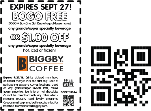 Biggby Coffee Coupon August 2017 Second beverage free at Biggby Coffee