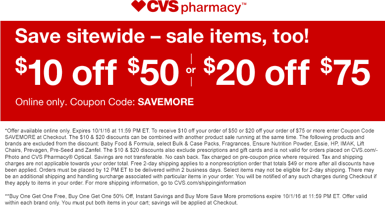 CVSPharmacy.com Promo Coupon $10 off $50 & more on everything online at CVS Pharmacy via promo code SAVEMORE - includes sale items