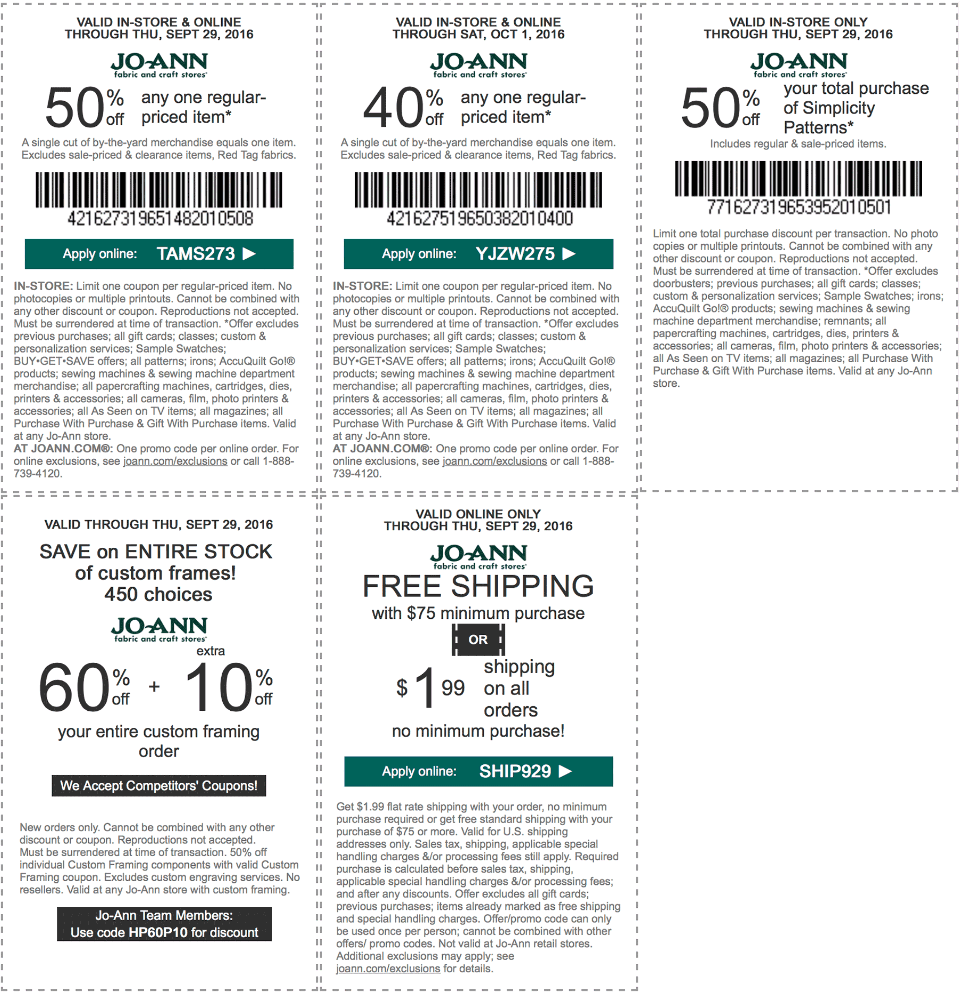 Jo-Ann Fabric Coupon January 2018 40% off a single item & more at Jo-Ann Fabric, or online via promo code YJZW275