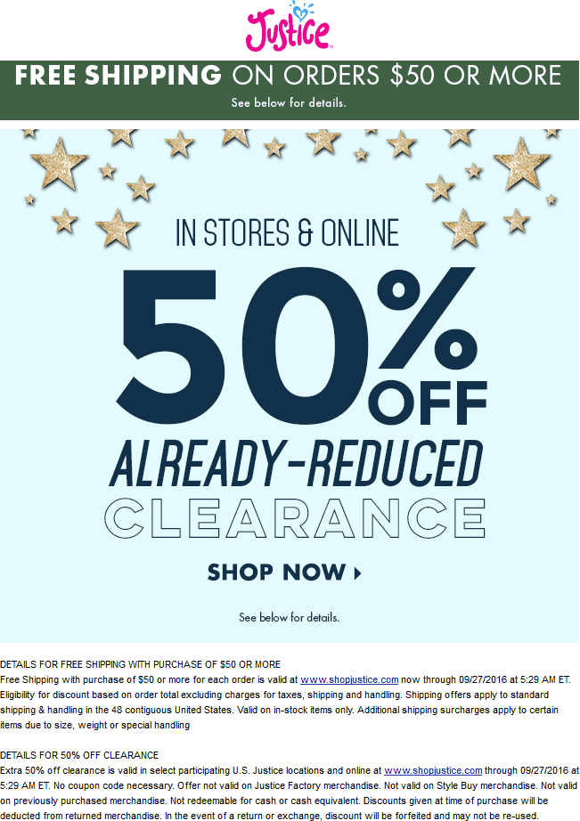 Justice.com Promo Coupon Extra 50% off clearance at Justice, ditto online