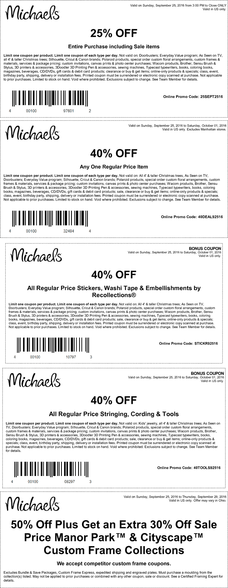 Michaels.com Promo Coupon 40% off a single item & more at Michaels, or online via promo code 40DEAL92516