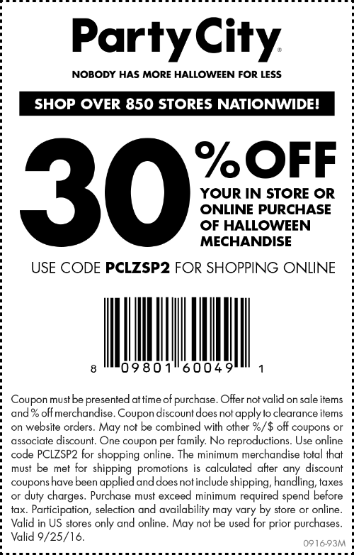 PartyCity.com Promo Coupon 30% off Halloween today at Party City, or online via promo code PCLZSP2
