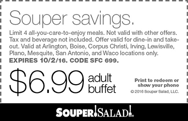 Souper Salad Coupon October 2016 $7 bottomless buffet at Souper Salad