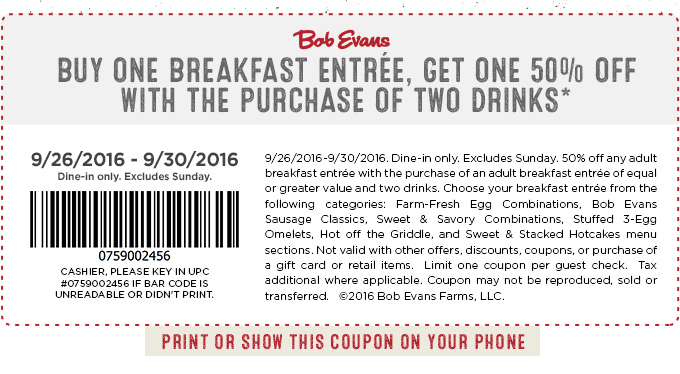 Bob Evans Coupon June 2017 Second breakfast 50% off at Bob Evans