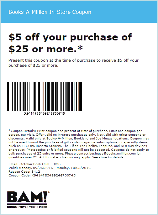 Books-A-Million.com Promo Coupon $5 off $25 at Books-A-Million