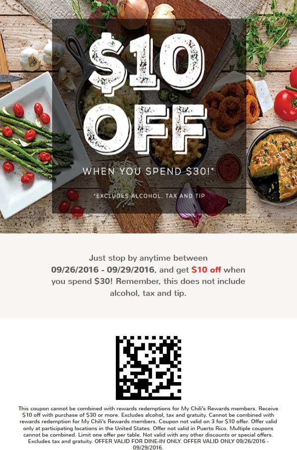 Chilis Coupon October 2016 $10 off $30 at Chilis restaurants
