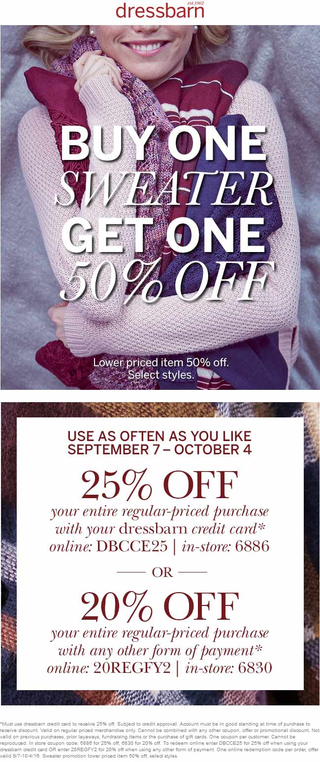 Dressbarn Coupon December 2016 20% off at Dressbarn, or online via promo code 20REGFY2