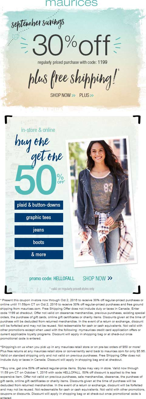 Maurices.com Promo Coupon 30% off & more at Maurices, or online via promo code 1199
