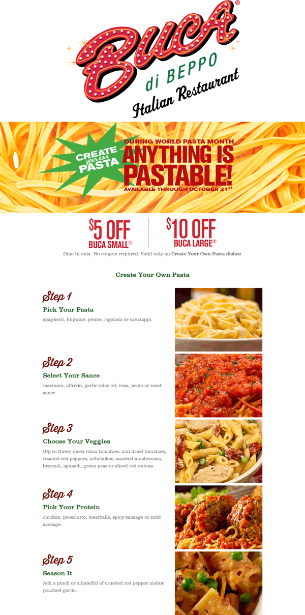 BucadiBeppo.com Promo Coupon $5-$10 off create your own pasta dishes at Buca di Beppo restaurants