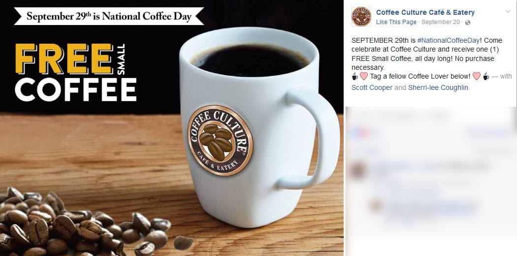 Coffee Culture Coupon February 2017 Free coffee Thursday at Coffee Culture cafe