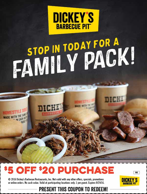 Dickeys Barbecue Pit Coupon April 2017 $5 off $20 at Dickeys Barbecue Pit restaurants