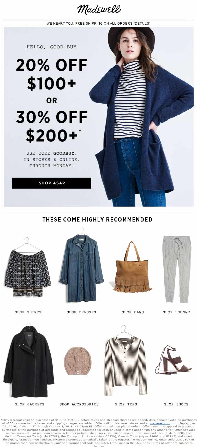 Madewell Coupon May 2018 20-30% off $100+ at Madewell, or online via promo code GOODBUY