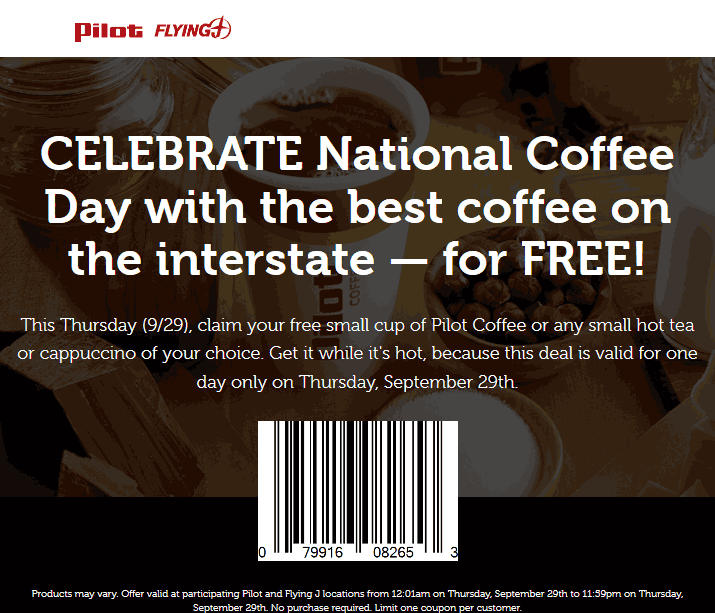 Pilot Coupon February 2017 Free coffee Thursday at Pilot & Flying J gas stations