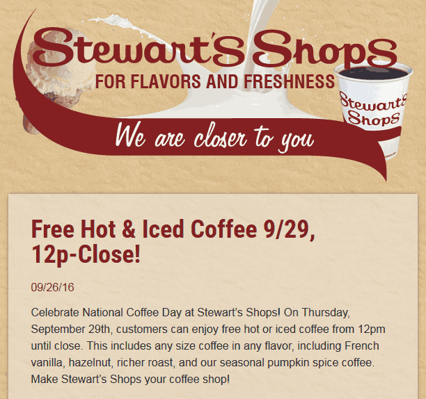 Stewarts Shops Coupon March 2017 Free coffee Thursday at Stewarts Shops