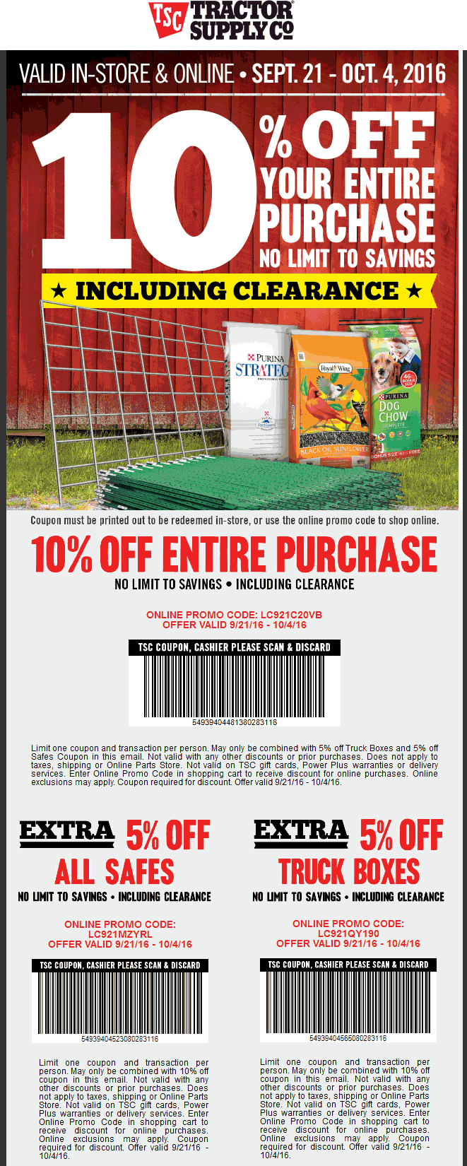 Tractor Supply Co Coupon April 2017 10% off at Tractor Supply Co, or online via promo code LC921C20VB