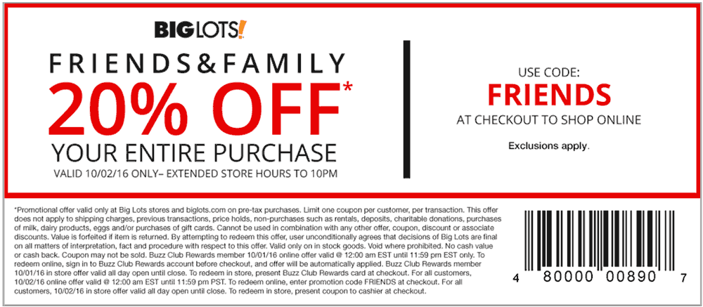 Big Lots Coupon January 2018 20% off everything Sunday at Big Lots, or online via promo code FRIENDS