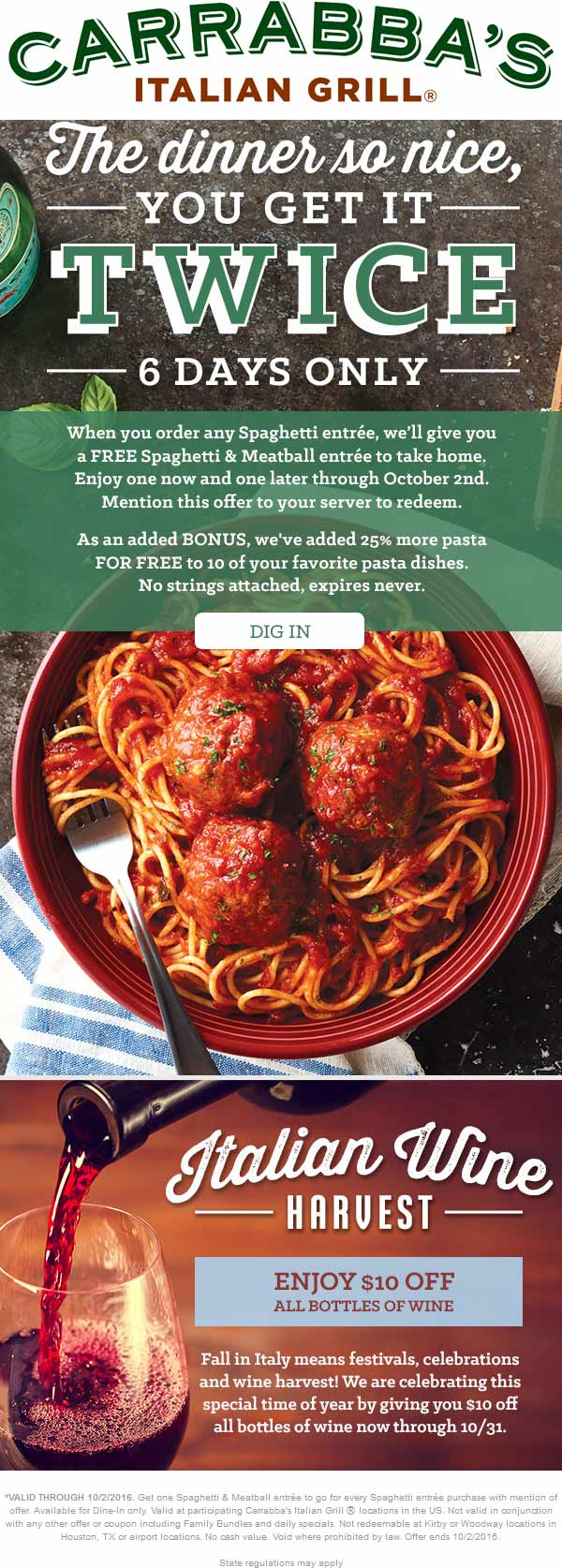 Carrabbas.com Promo Coupon Second spaghetti & meatballs free as takeout at Carrabbas restaurants