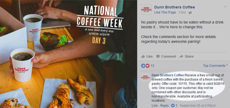 Dunn Brothers Coupon April 2017 Free coffee with your pastry today at Dunn Brothers