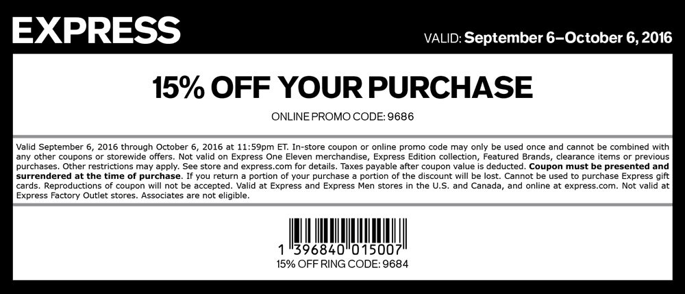 Express.com Promo Coupon 15% off at Express, or online via promo code 9686