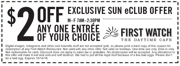 FirstWatch.com Promo Coupon $2 off an entree at First Watch daytime cafe