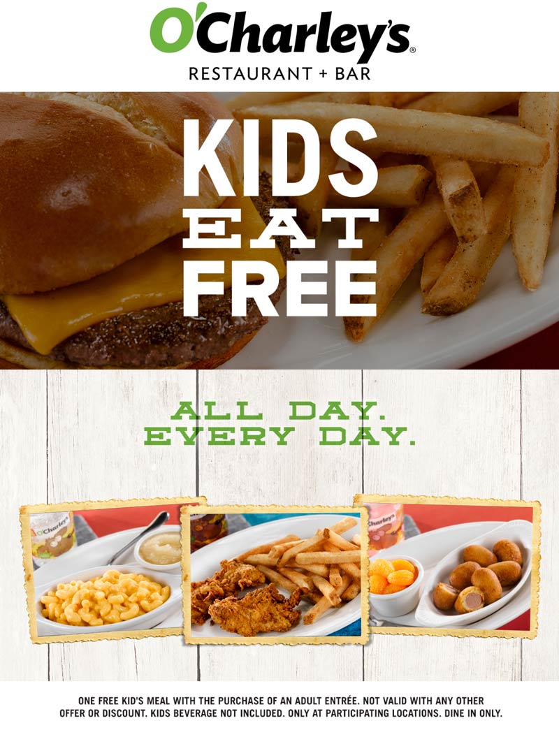 OCharleys Coupon April 2017 Kids eat free with your entree at OCharleys