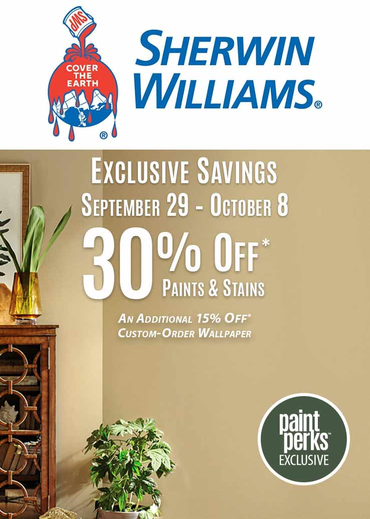 Sherwin Williams Coupon March 2018 30% off paints & stains at Sherwin Williams