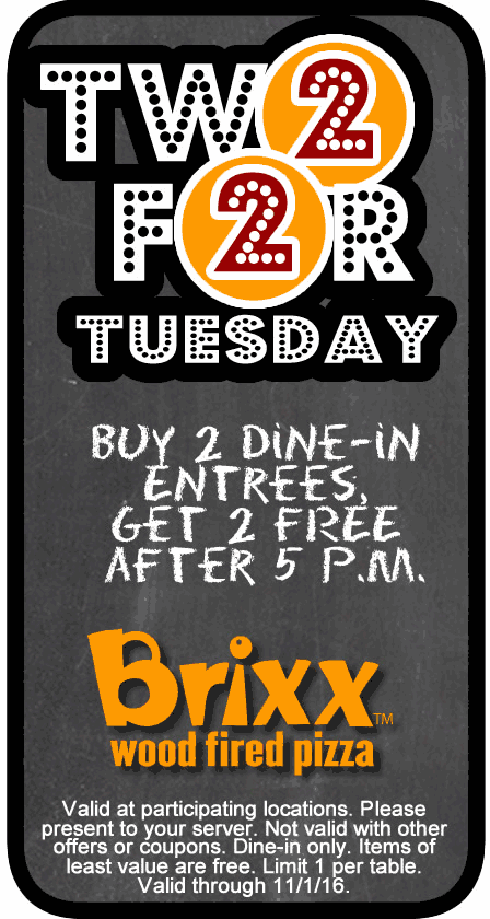 Brixx Coupon January 2018 4-for-2 Tuesdays at Brixx wood fired pizza
