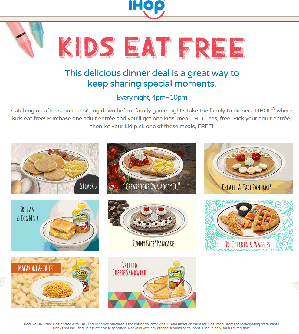 IHOP Coupon January 2018 Kids eat free with your entree 4-10p at IHOP