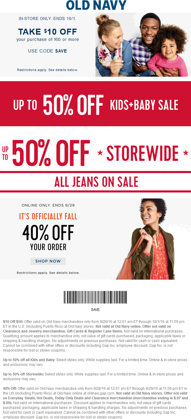 OldNavy.com Promo Coupon $10 off $50 & more at Old Navy, or online via promo code SAVE