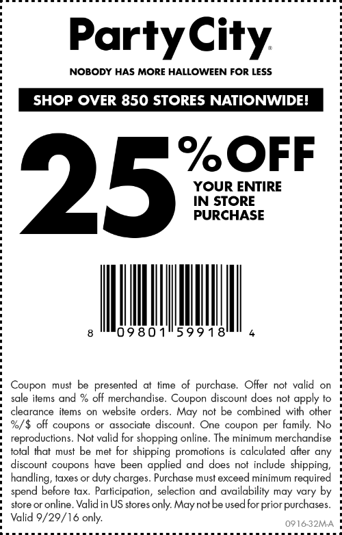 PartyCity.com Promo Coupon 25% off today at Party City