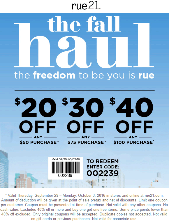 Rue21 Coupon May 2018 $20 off $50 & more at rue21, or online via promo code 002239