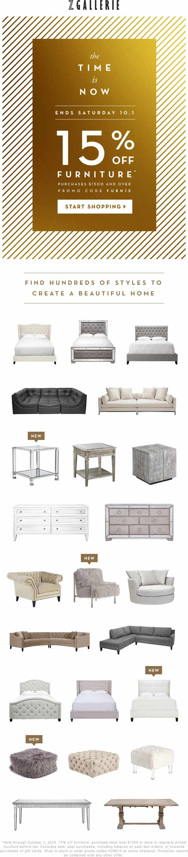 Z Gallerie Coupon May 2017 15% off $1500 on furniture at Z Gallerie, or online via promo code FURN15
