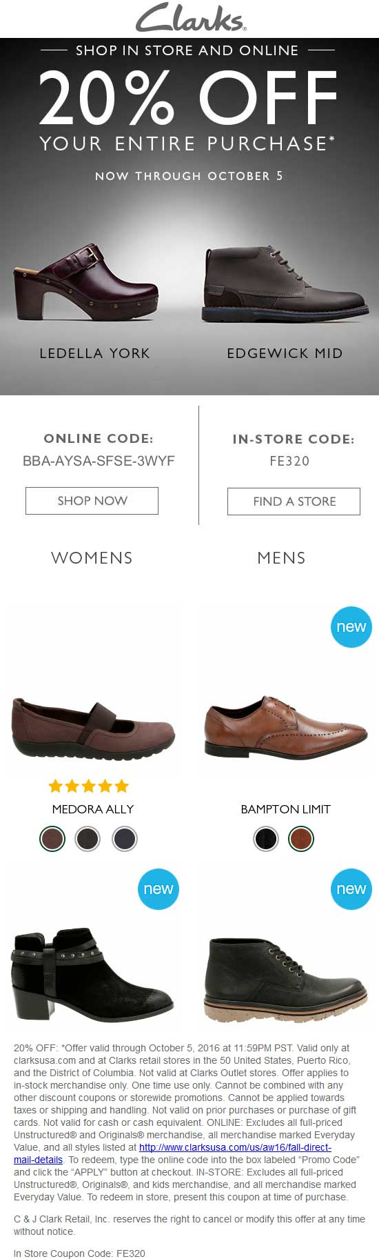 Clarks Coupon March 2017 20% off at Clarks shoes, or online via promo code BBA-AYSA-SFSE-3WYF