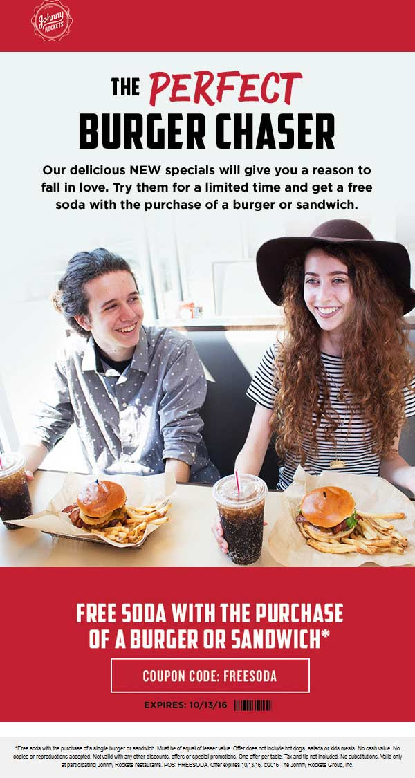 Johnny Rockets Coupon January 2018 Free soda with your burger or sandwich at Johnny Rockets