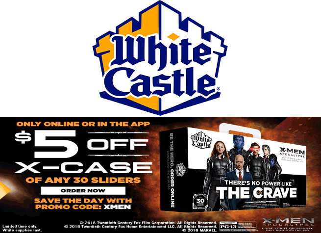 White Castle Coupon September 2017 $5 off a 30pack of sliders at White Castle via promo code XMEN