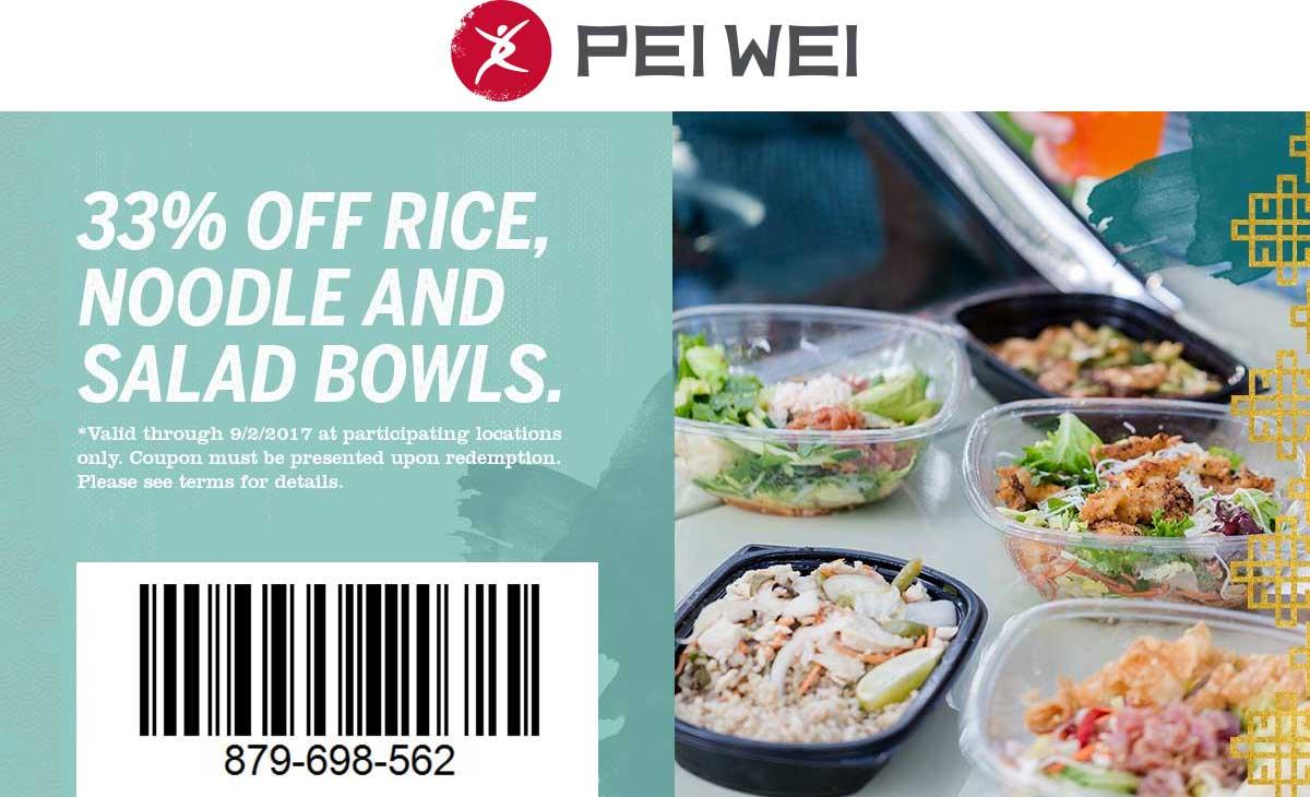Pei Wei Coupon December 2018 33% off bowls at Pei Wei restaurants
