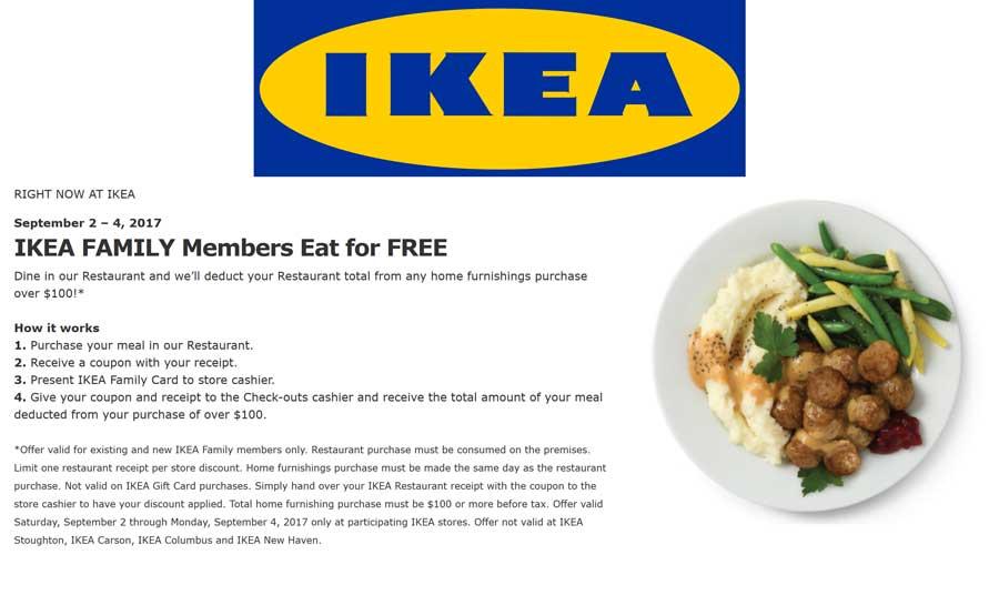 IKEA.com Promo Coupon Spend $100 & eat for free at IKEA furniture