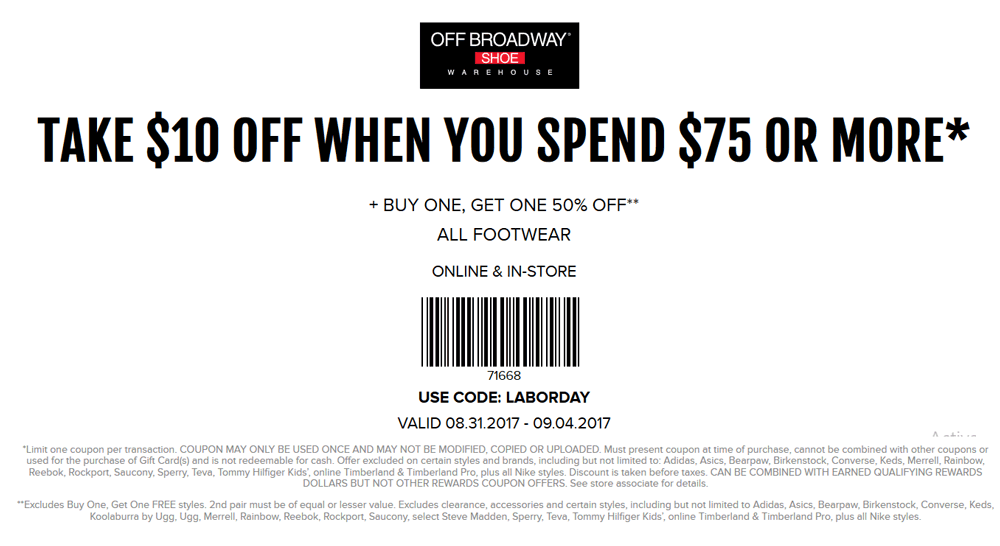 OffBroadwayShoes.com Promo Coupon $10 off $75 at Off Broadway Shoes, or online via promo code LABORDAY