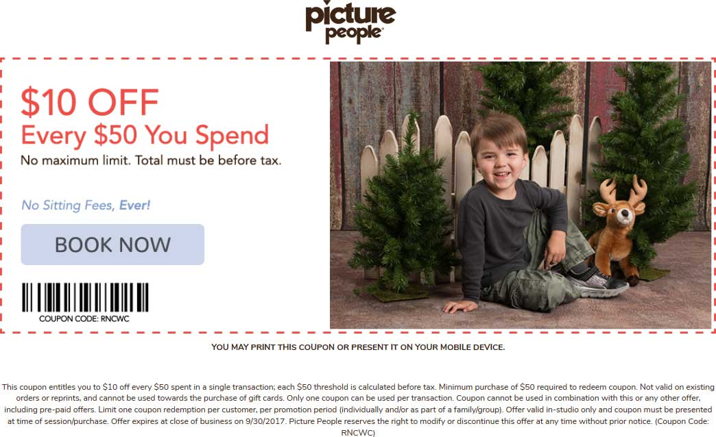 Picture People Coupon March 2019 $10 off every $50 at Picture People