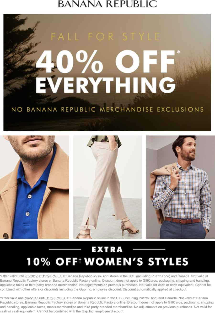 Banana Republic Coupon August 2018 40% off everything + another 10% off womens at Banana Republic, ditto online