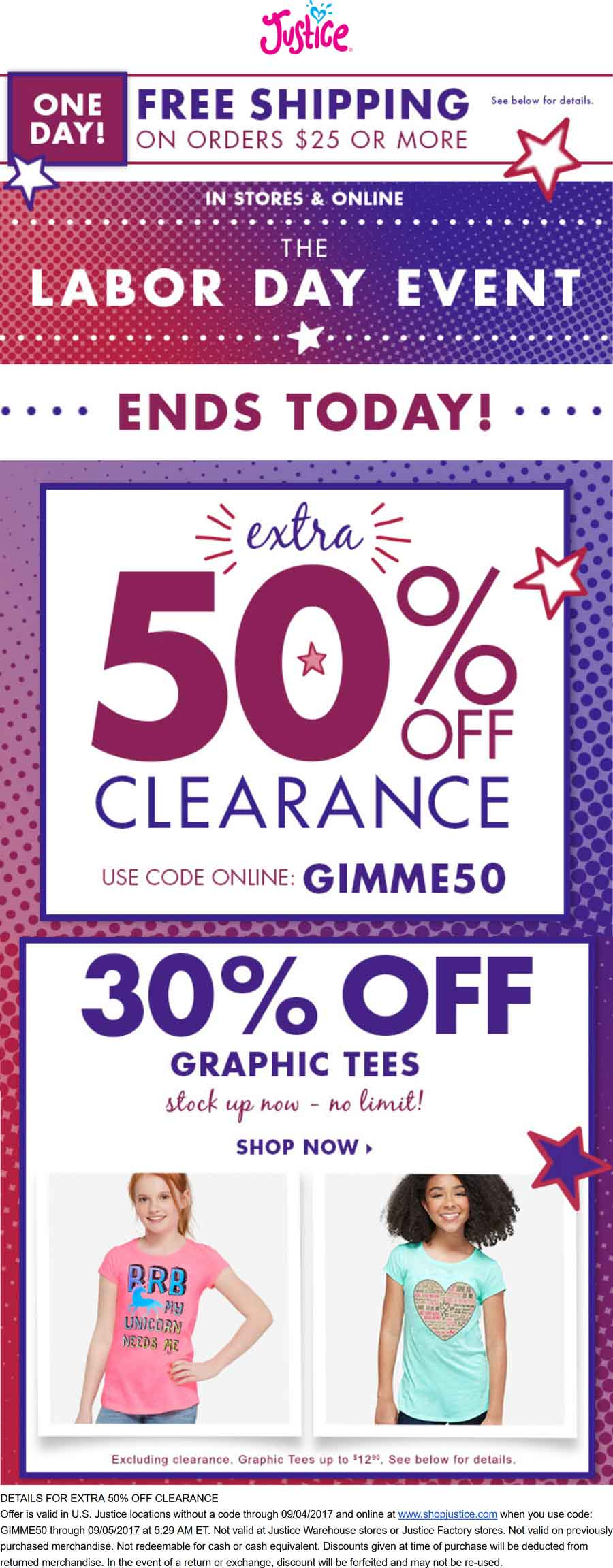 Justice Coupon January 2018 Extra 50% off clearance today at Justice, ditto online